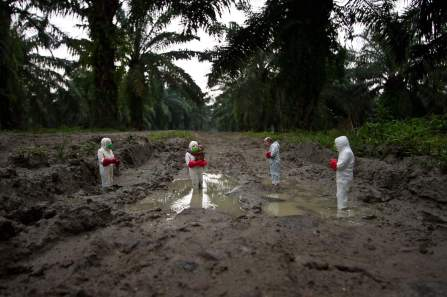 Isaac Cordal, Splash and Burn, Sumatra. Photo Credit Isaac Cordal