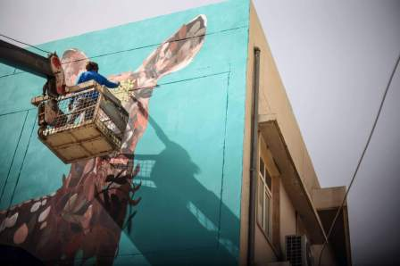 Ernesto Maranje, Street Art Deer, Iraq 2017. Photo Credit aptART