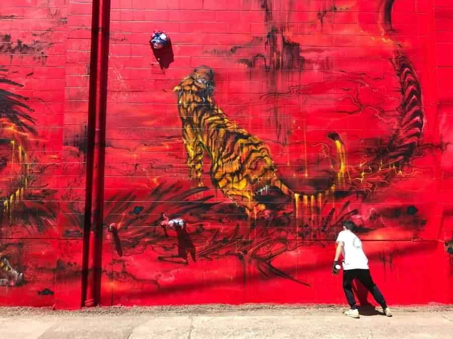 Hua Tunan, 20x21EUG Mural, Street Art Project, Eugene, Oregon 2017. Photo Credit Debbie Williamson Smith