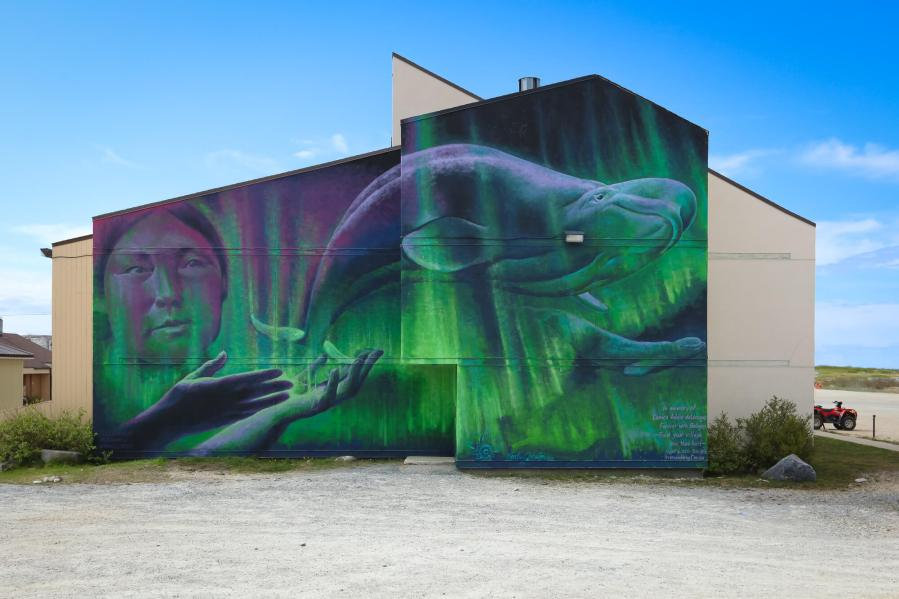 Charles Johnston, Pangeaseed Foundation, Sea Walls: Murals for Oceans Street Art Festival Churchill, 2017. Photo Credit Tré Packard
