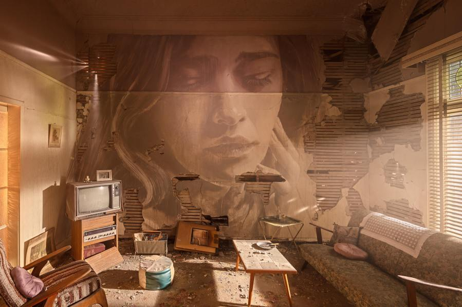 Rone-the-omega-project-street-art-abandoned-house-melbourne-women-lounge-The-Living-Room