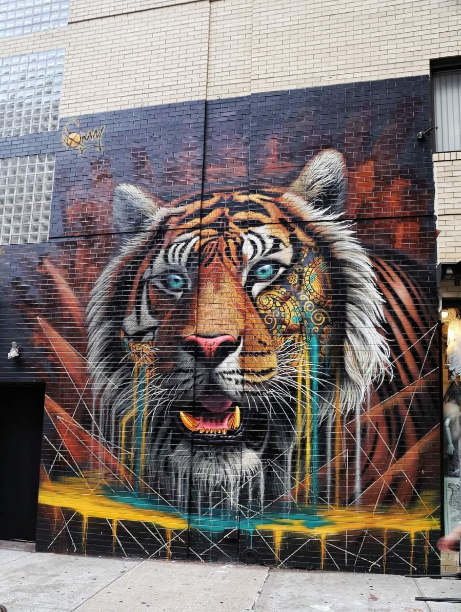 Graffiti art animals - Sonny Tiger Street Art Mural Soho New York City Project Cat The