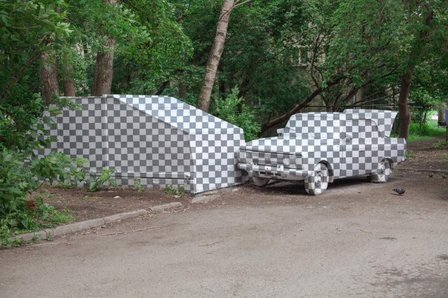 Cutting out the Moskvitch Car, Photoshop, Stenograpffia Street Art Festival, Yekaterinburg Russia 2017.