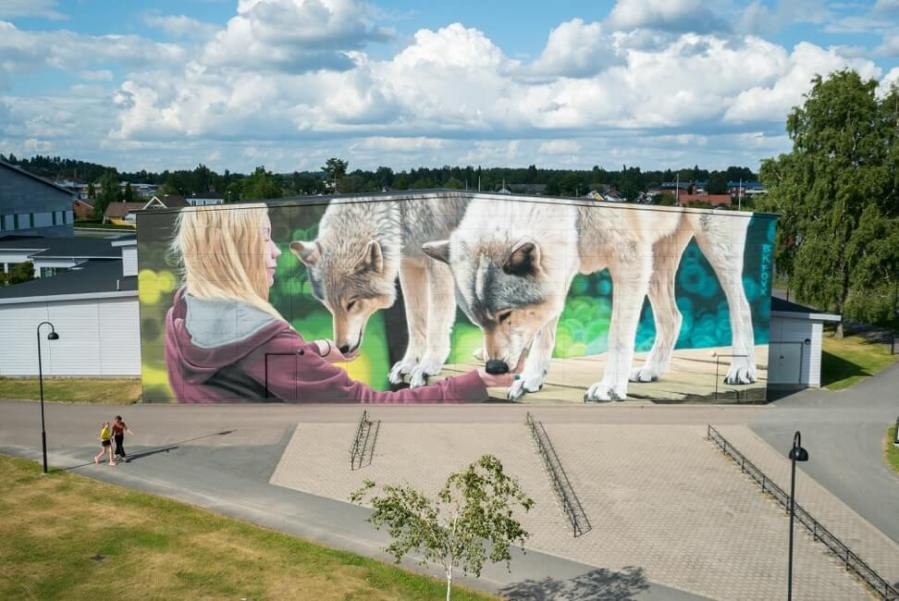 BKFoxx, Artscape Street Art Festival, White Moose Project, Sweden 2017. Photo credit Fredrik Åkerberg.