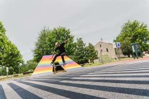 Felipe Pantone, The Unexpected Urban Art Festival, Fort Smith, Arkansas 2017. Photo Credit JustKids