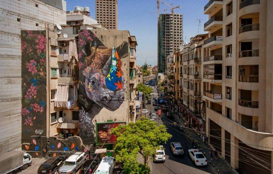 Ernesto Maranje, The Rhino and the Oxpecker, Street Art Mural, Paint Outside The Lines Lebanon 2017. Photo Credit Selina Miles