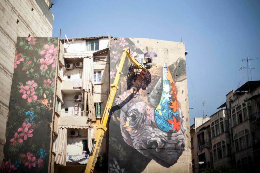 Ernesto Maranje, The Rhino and the Oxpecker, Street Art Mural, Paint Outside The Lines Lebanon 2017. Photo Credit aptART