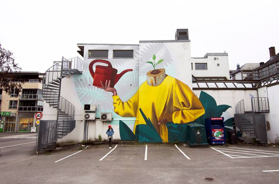 Artez, Art for All in the World, Street Art Project, Sandefjord Norway 2017. Photo Credit Art for All in the World.
