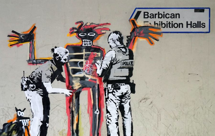 Banksy Basquiat Tribute, Barbican centre, london. Photo credit Banksy 2017