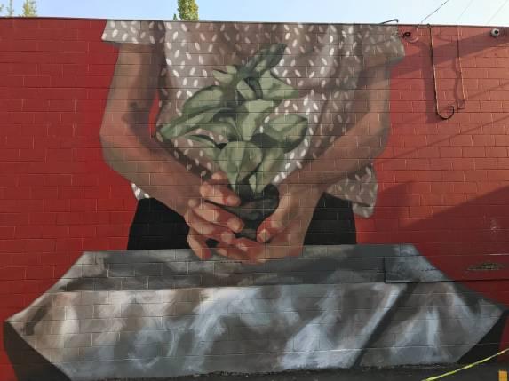 Hyuro, 20x21 Street Art Project, Eugene 2017. Photo Credit Debbie Williamson Smith