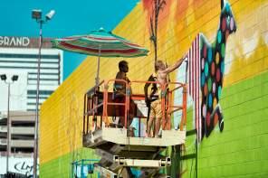 Okuda, Life is Beautiful, Urban Art Festival, Downtown Las Vegas 2017. Photo Credit Justkids