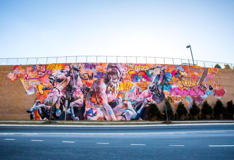 "PichiAvo, Street Art Mural ""Rivanna River by Poseidon"",5th Street Station,Charlottesville, Virginia 2017. Photo Credit @derrickjwallerphotography / Graffitistreet"