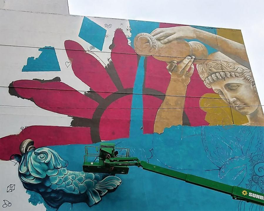 Street artist Beau Stanton, Downtown Nashville. Photo Credit Nashville Walls Project.