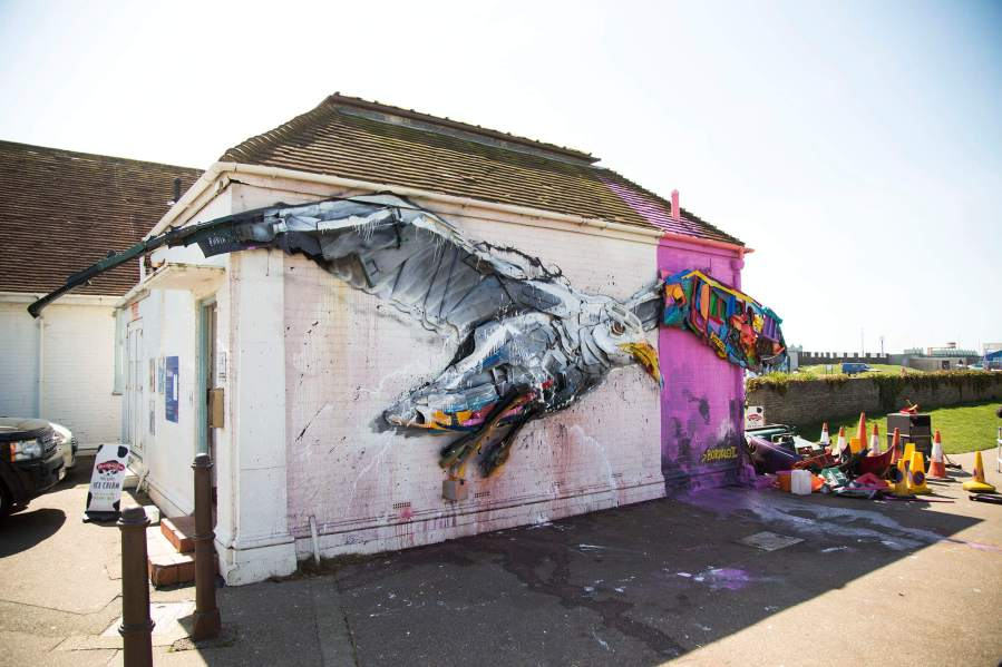 Bordalo II, Trash Seagull, Fatboy Slim's Big Beach Cafe, Hove 2018. © Graffitistreet.com