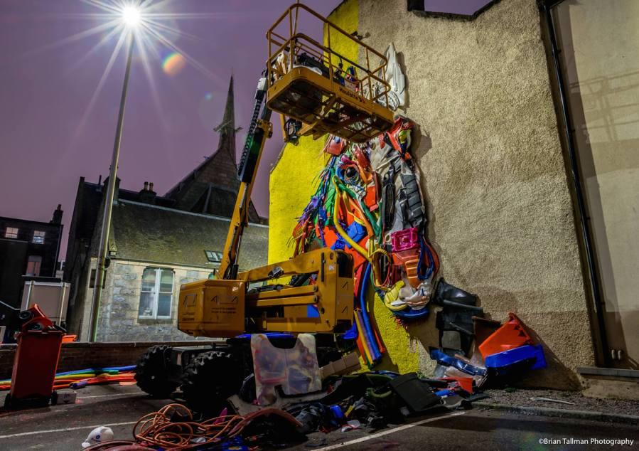Bordalo ii, Nuart Aberdeen Street Art Festival 2018. Photo Credit Brian Tallman Photography