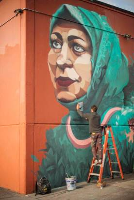 Ernesto Maranje and Suhaib Attar collab, Street Art Portland. Photo Credit AptART 2018.