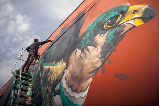 Ernesto Maranje and Suhaib Attar collab, Street Art Portland. Photo Credit AptART 2018.