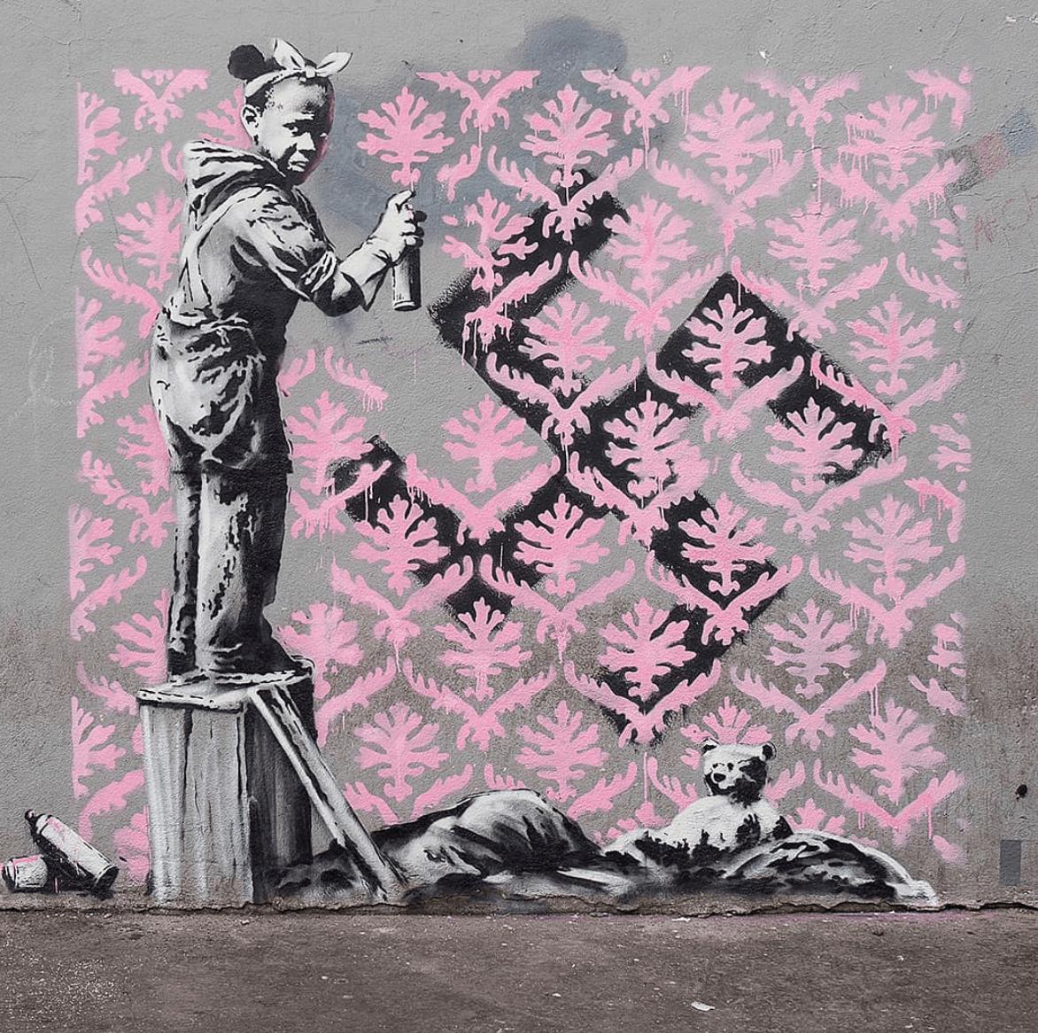 Banksy stencil art paris 2018 photo credit banksy