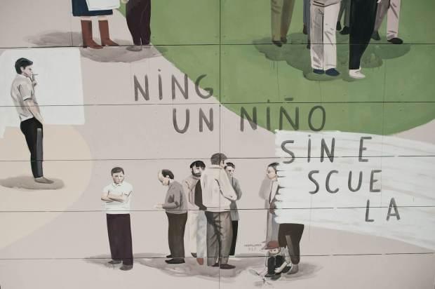 """Escif, """"LA PLAZA ES NUESTRA"""" (The square is ours) MURAL, Sant Feliu de Llobregat, Barcelona 2018. Photo Credit Clara Anton"""