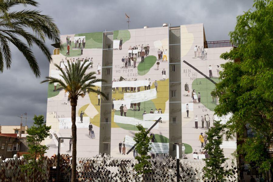 """Escif, """"LA PLAZA ES NUESTRA"""" (The square is ours), Sant Feliu de Llobregat, Barcelona 2018. Photo Credit Clara Anton"""