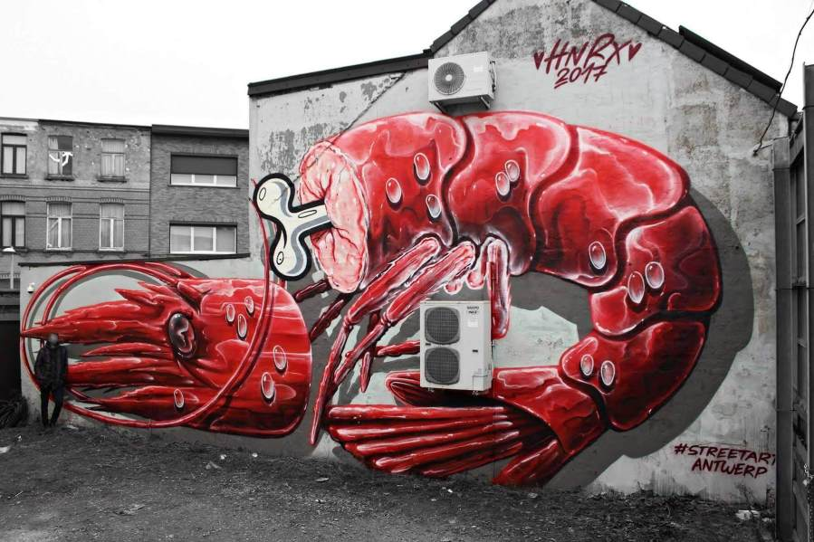 HNRX, Shrimp Cocktail, Street Art Antwerp, Belgium
