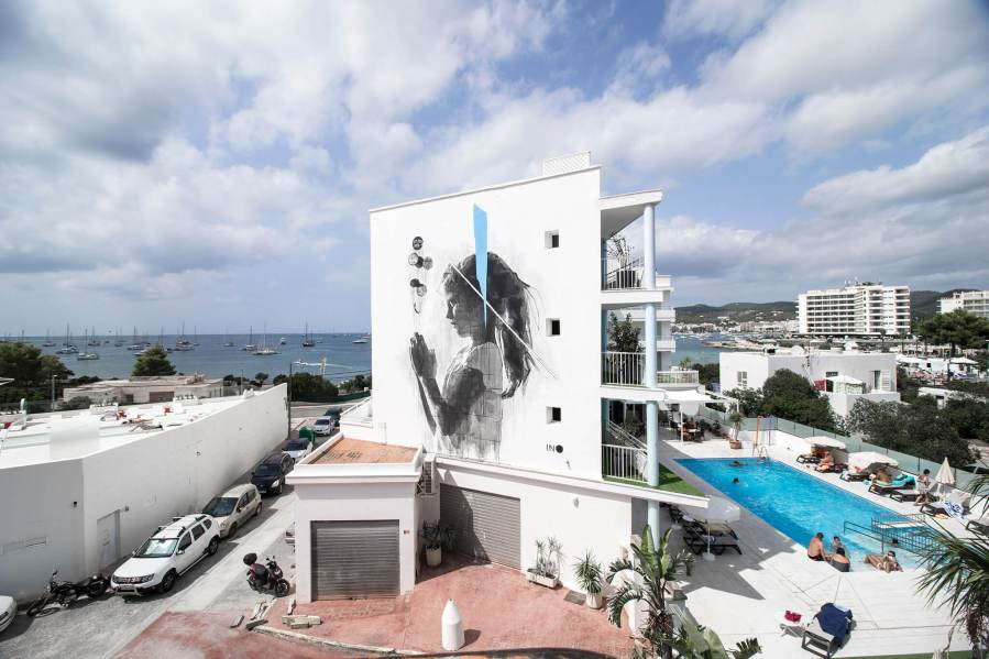 "INO, Street Art Mural ""Hopeless"", Bloop Art Festival, Ibiza 2018"