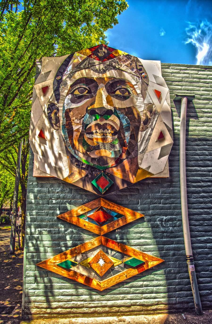 Matt Small, Jesse Owens Tribute, Re-claimed materials Sculpture, 20x21EUG Mural Project, Eugene, Oregon. Photo Credit Ben Schorzman