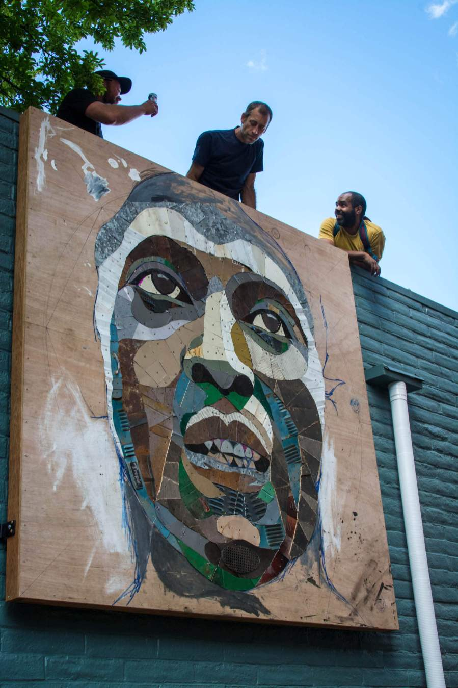 Matt Small, Jesse Owens Tribute, Re-claimed materials Sculpture, 20x21EUG Mural Project, Eugene, Oregon. Photo Credit Maricel Teague