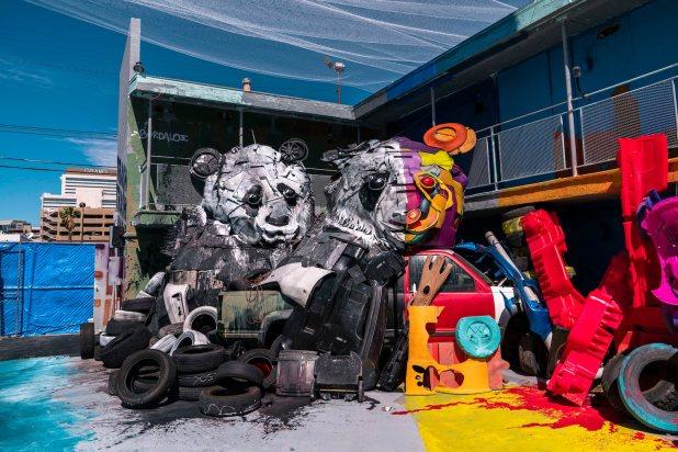 Bordalo II, Wild Wild Waste, Big Trash Animal Zoo, Life is Beautiful Festival, downtown Las Vegas 2018. Photo Credit JustKids