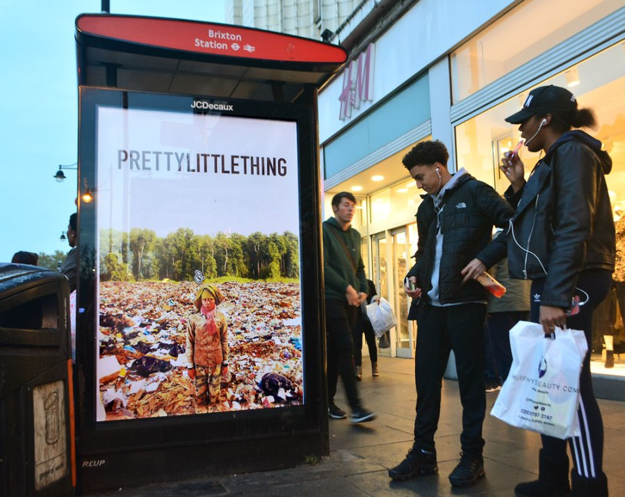 Bill Posters, Pretty Little thing, Waste World, Black Friday 2018. Photo Credit Bill Posters