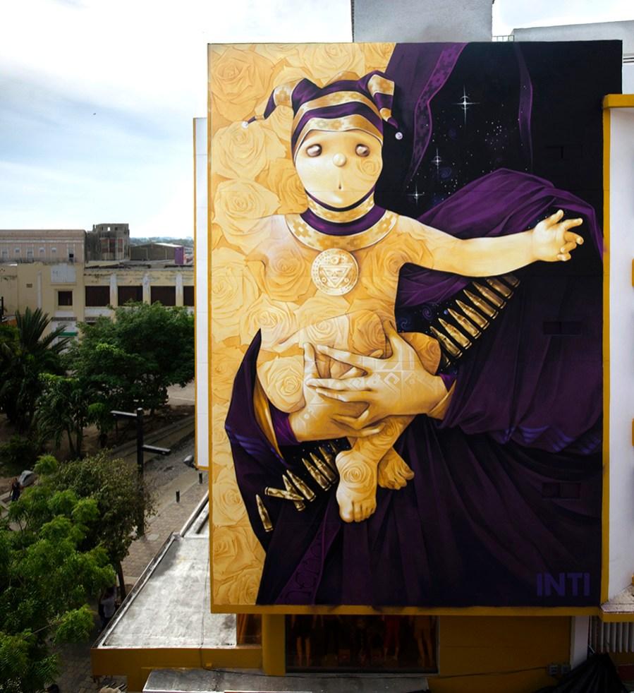 "INTI, Street Art ""Son of the Sun"" Mural, Colombia 2018. Photo Credit INTI"