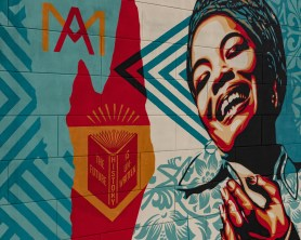 Shepard Fairey, Maya Angelou Mural Festival, Dr. Maya Angelou community School 2019. Photo Credit Jake Ross