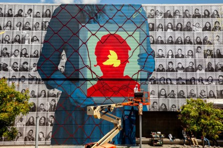 WISEKNAVE Fine Art Documentation for Rabi of Cyrcle & JR's Insideout Project at Branded Arts Maya Angelou Mural Festival in Los Angeles. 2019