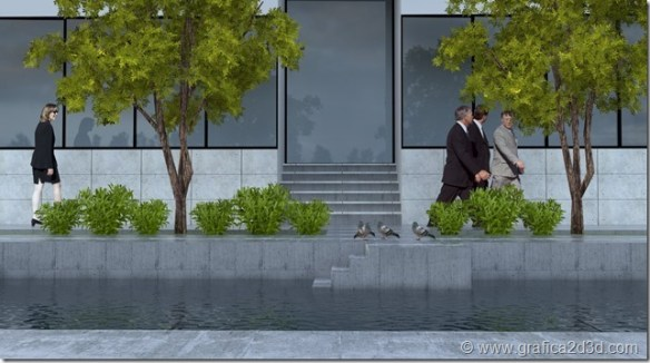 Exterior office vray sketchup setting scene