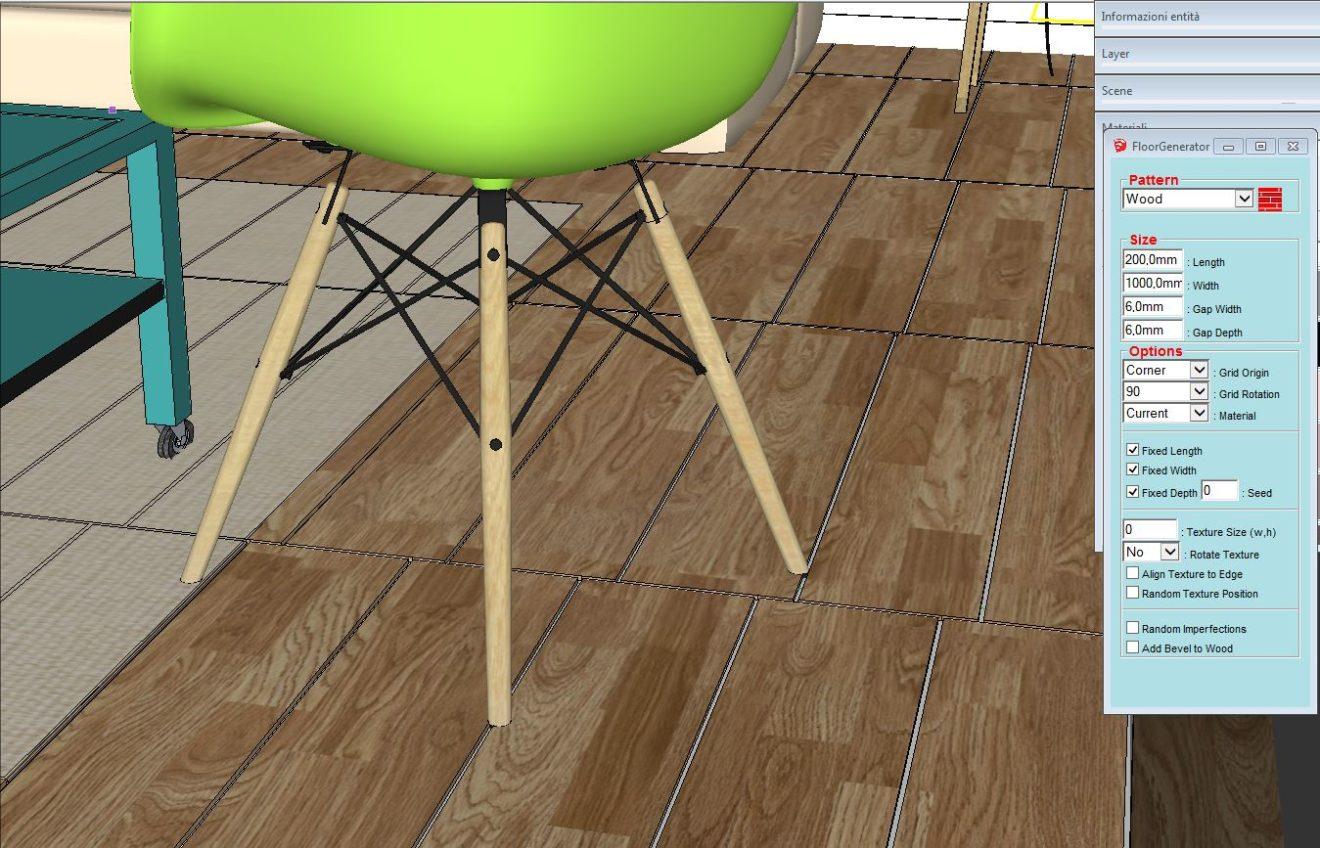 Plugin sketchup floorgenerator per creare pavimentazioni