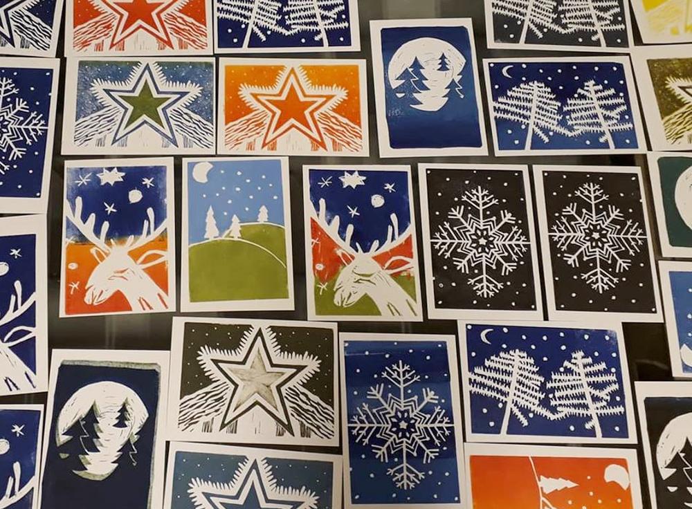 kerst en winter afbeeldingen in linodruk