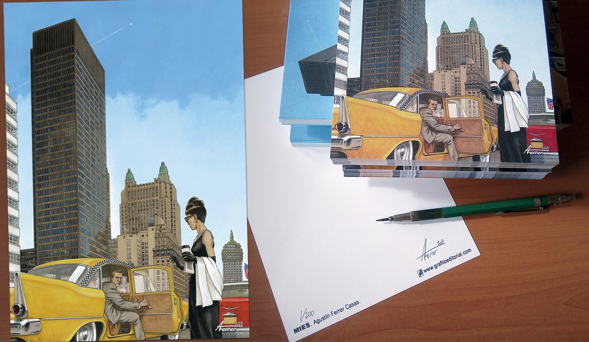 Acuarela dibujada por Agustín Ferrer Casas con una escena de la película Desayuno con diamantes