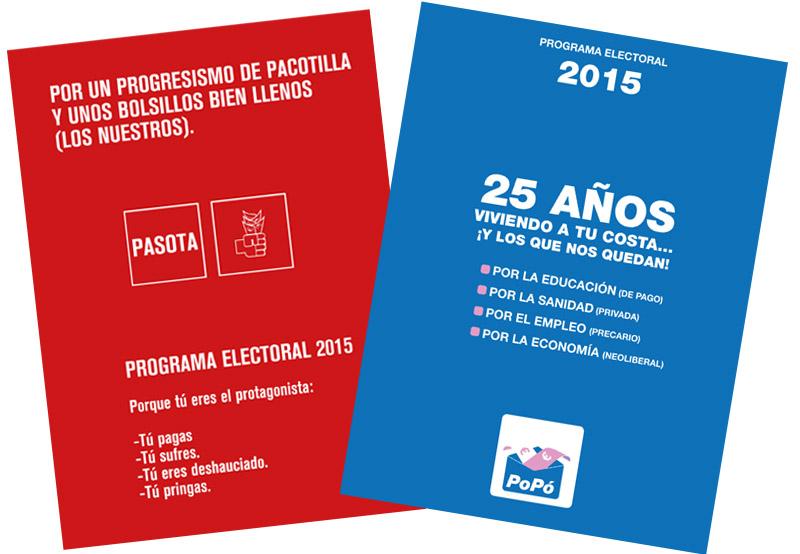 programa electoral del POPO y el PASOTA, del cómic Chorizos atraco a la española
