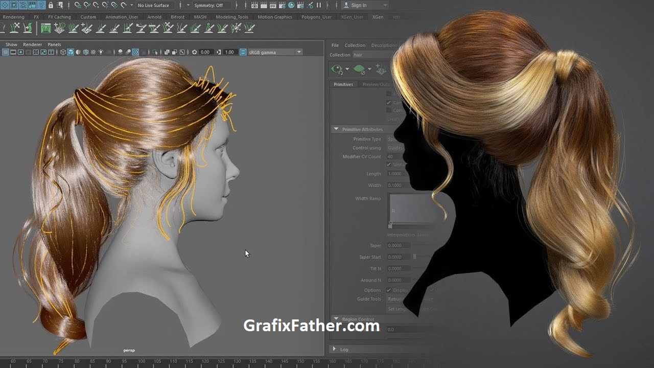 Download] Creating a Female Hairstyle for Production with Maya XGen