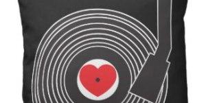 I heart vinyl pillow | zazzle
