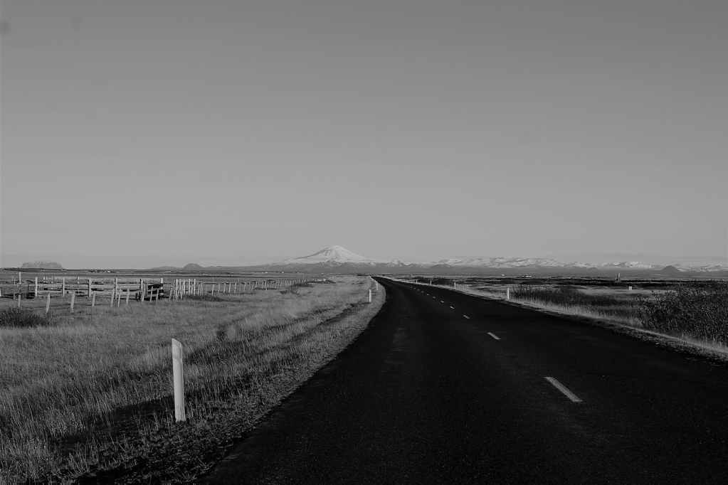 grayscale photo of road in the middle of grass field