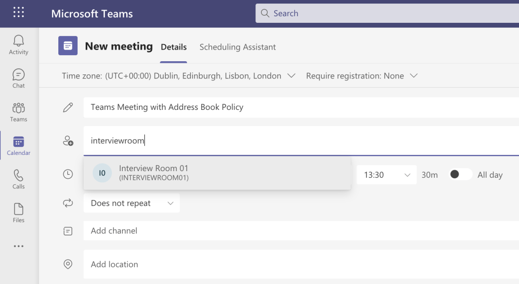 Adding a user in a different GAL to a Microsoft Teams meeting