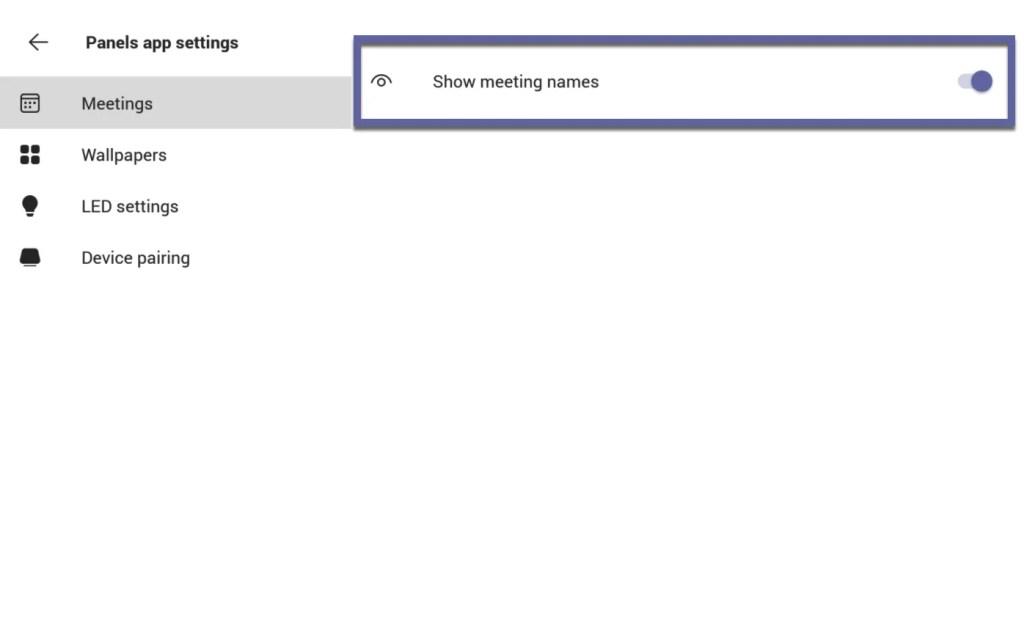 Teams panel App Settings