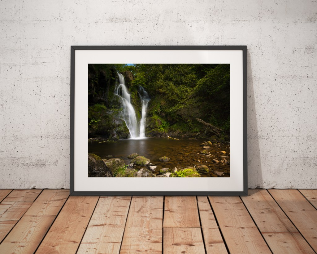 Valley of Desolation framed waterfall Bolton Abbey