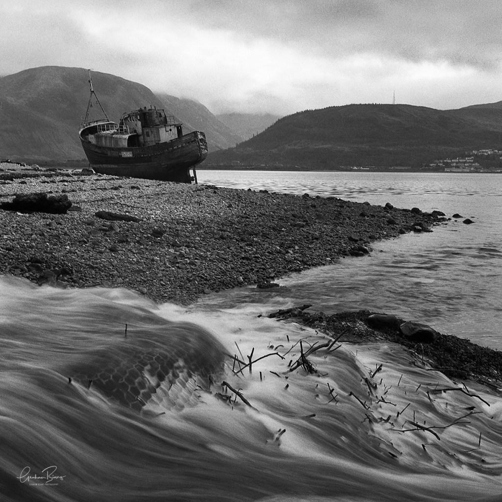 'Rested Trawler' Corpach - Ben Nevis, Scotland. Trawler On Loch Linnhe, Corpach. Ben Nevis