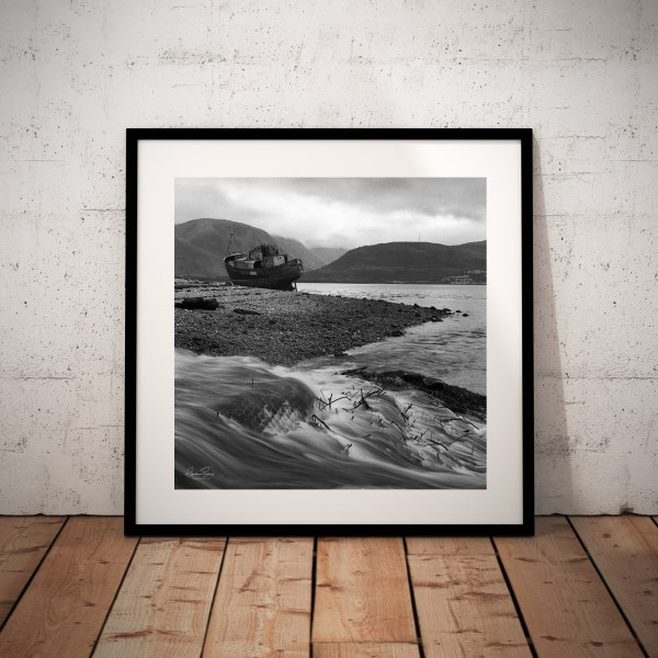 Framed Rested Trawler on Loch Linnhe, Corpach. Ben Nevis
