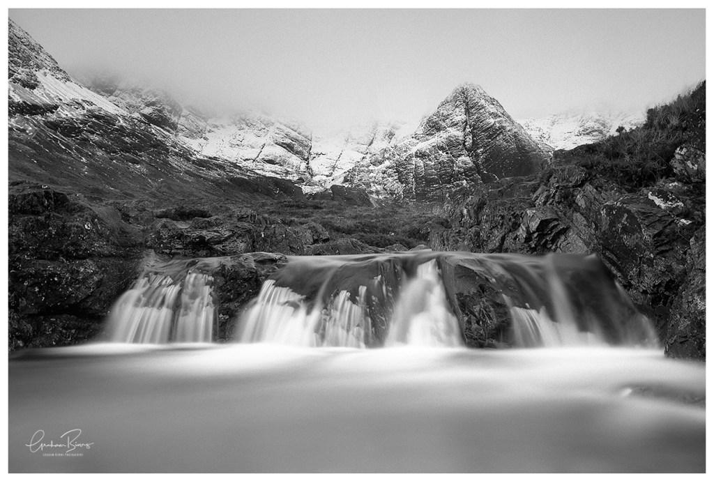 Fairy Pools Scotland Black And White