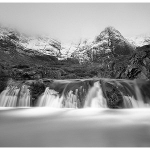 Fairy Pools Scotland Black And White