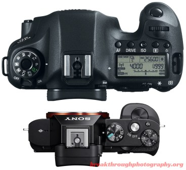 Canon 6D vs Sony a7R size top weight