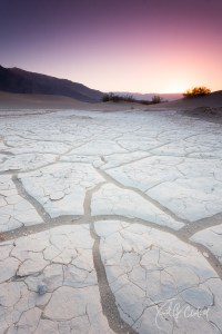 Death Valley Sand Dunes Sunset against Salt Patterns